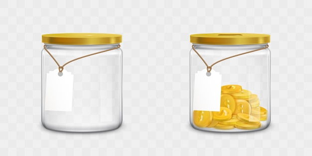 Frasco de vidro com etiquetas e conjunto de dinheiro