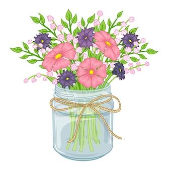 Frasco de vidro com flores. bouquet de primavera.