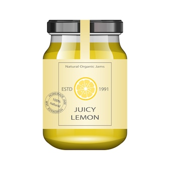 Frasco de vidro com geléia de limão e configure. coleção de embalagens. rótulo vintage para geléia. banco realista.