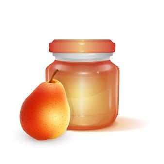 Frasco de vidro com ilustração de geléia de maçã
