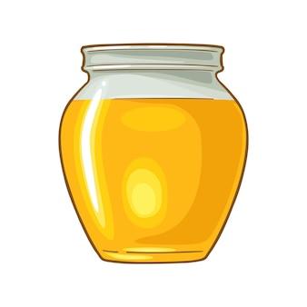 Frasco de vidro com ilustração vetorial de cor de mel elemento de design desenhado à mão para etiqueta e cartaz