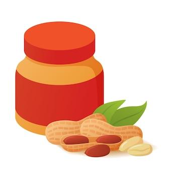 Frasco de vidro com manteiga de amendoim. comida. vegan pode pasta de nozes.