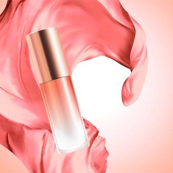 Frasco de vidro cosmético em branco com tecido de cetim no fundo rosa, ilustração 3d