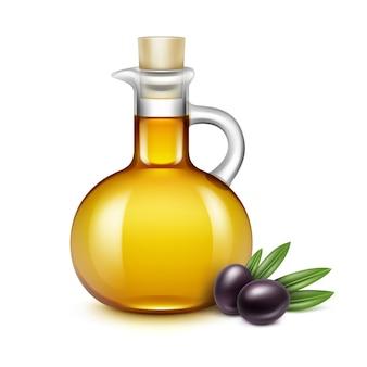 Frasco de vidro de azeite com azeitonas nas folhas isoladas no branco