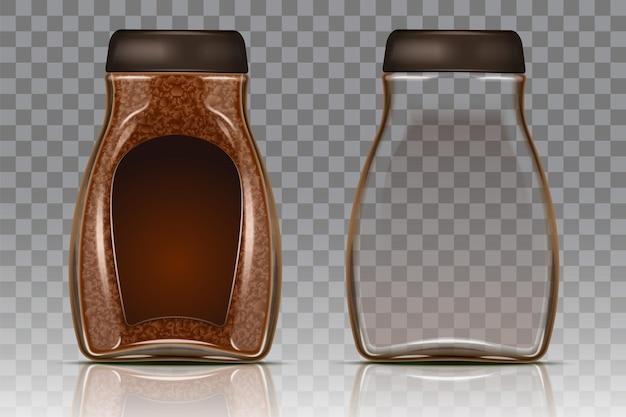 Frasco de vidro de café com grânulos de café instantâneo e frasco vazio.
