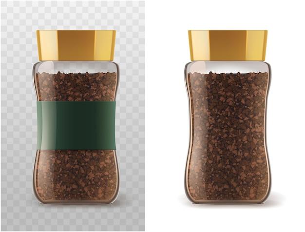 Frasco de vidro de café com ícones de grânulos de café instantâneo.