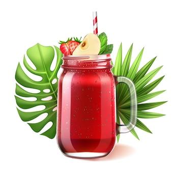 Frasco de vidro de mason para smoothie realista. suco de fruta melancia de morango com maçã fatiada