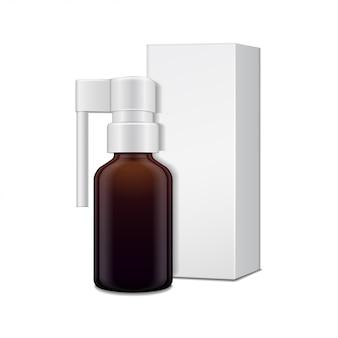 Frasco de vidro escuro com pulverizador para spray oral e caixa de papelão branca.
