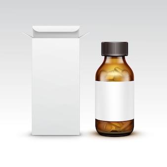 Frasco de vidro médico de medicina em branco de vetor com comprimidos comprimidos