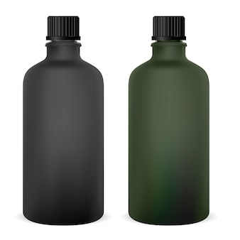 Frasco de vidro médico em branco. frasco de medicamento para xarope. boné