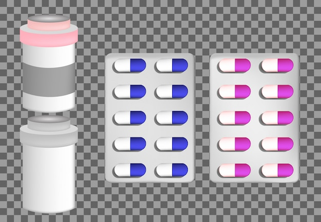 Frasco de vidro para comprimidos com remédio líquido e tampa plástica