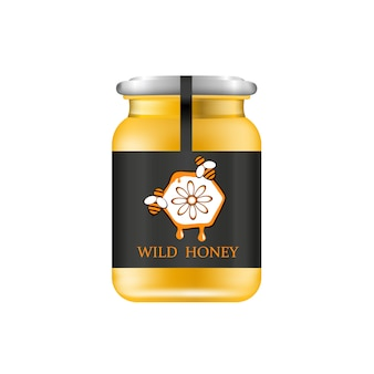 Frasco de vidro realista com mel. banco alimentar. embalagem de mel. logotipo do mel