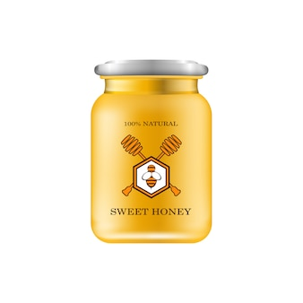 Frasco de vidro realista com mel. banco alimentar.