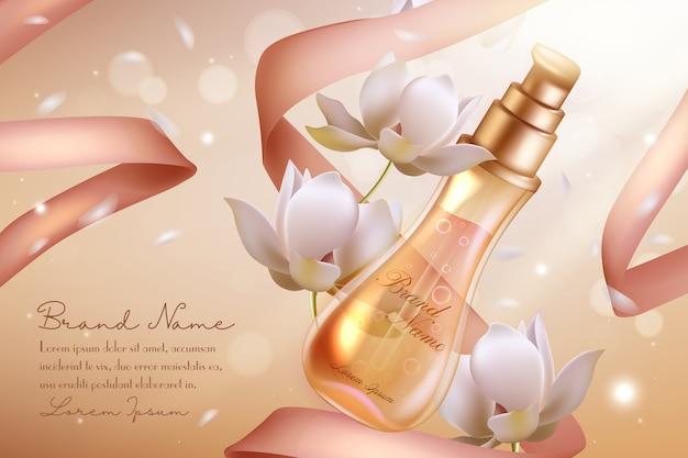 Frasco de vidro spray para cosméticos com perfume de flor de laranjeira