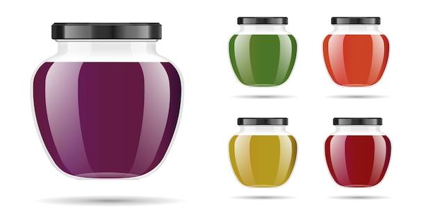 Frasco de vidro transparente realista com geléia, confiture ou molho.