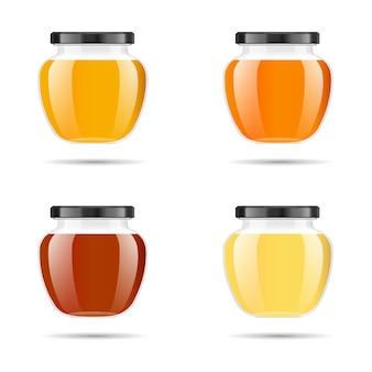 Frasco de vidro transparente realista com mel. banco alimentar. embalagem de mel. logotipo do mel