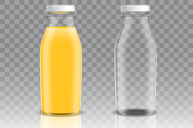 Frasco de vidro vazio e cheio de suco de laranja