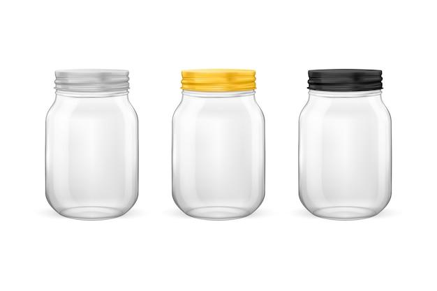 Frasco de vidro vazio realista para conservas e conservas