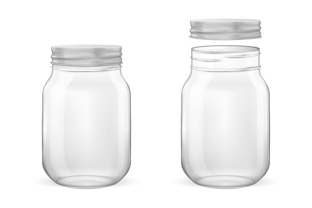 Frasco de vidro vazio realista para enlatados e conservas com tampa prateada aberta e close-up fechado