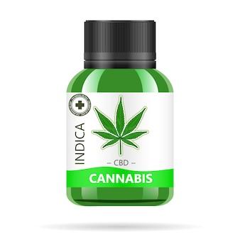 Frasco de vidro verde realista com cannabis.