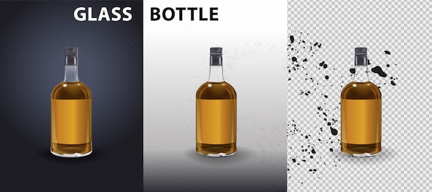 Frasco de vinagre de vinho de vidro com tampa plástica e etiqueta em branco.
