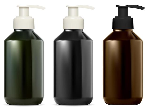 Frasco dispensador de bomba frascos de bomba de cosmética em branco recipiente de sabão líquido nas cores preta, verde e marrom