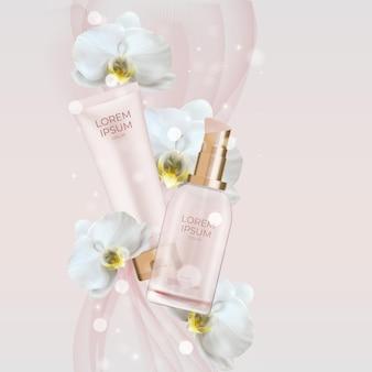 Frasco e tubo de creme para produtos cosméticos naturais 3d realistas com flor de orquídea.
