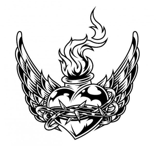 Frasco em forma de coração ardente em arame