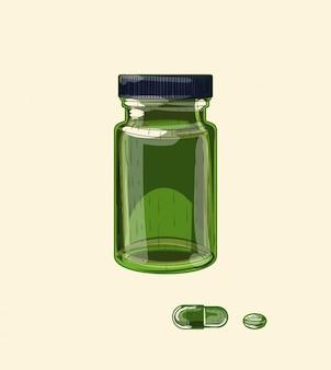 Frasco largo e pílulas de vidro verde medicinal, arte de esboço desenhada à mão