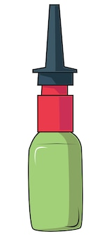 Frasco médico de vetor. produtos farmacêuticos - pílulas, remédios, gotas para o nariz, ouvidos e olhos.
