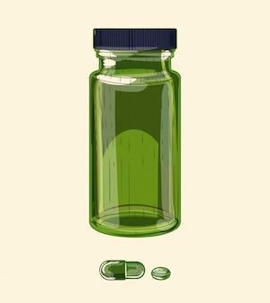 Frasco médico de vidro verde