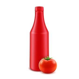 Frasco plástico de ketchup vermelho em branco