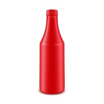 Frasco plástico de ketchup vermelho para a marca, sem rótulo, isolado no fundo branco
