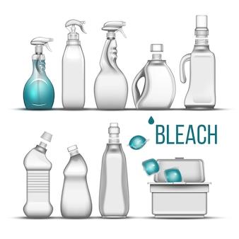 Frasco plástico para detergente alvejante