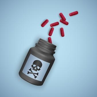 Frasco preto com pílulas venenosas, um frasco retrata uma caveira com ossos cruzados