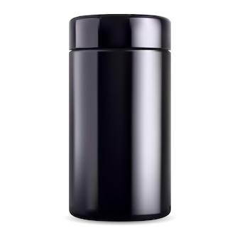 Frasco preto simulado. frasco de vidro preto, lata de suplemento. embalagem esportiva de plástico brilhante, recipiente de chá de vetor. pacote de beleza cosmética masculina, creme corporal, sal ou esfoliante