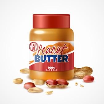 Frasco realista de composição de manteiga de amendoim com embalagem de lata da marca e nozes de amendoim maduras com sombras