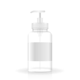 Frasco realista para sabonete, anti-séptico e outras substâncias higiênicas. ilustração vetorial.