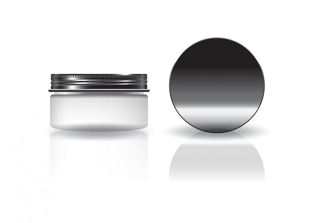 Frasco redondo cosmético branco em branco com tampa preta.