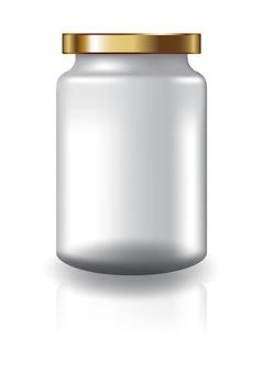 Frasco redondo transparente em branco com tampa de ouro tamanho médio alto para suplementos ou produtos alimentícios.