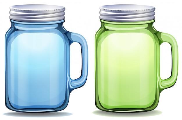 Frascos azuis e verdes com tampas de alumínio