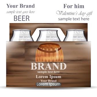 Frascos de cerveja na caixa de madeira