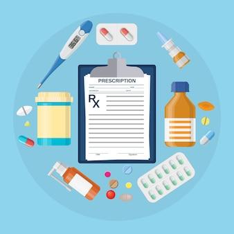 Frascos de comprimidos, comprimidos com receita médica. medicamento termômetro, pílula, drogas, cápsulas, área de transferência com rx.