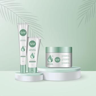 Frascos de cosméticos 3d e copo no pódio para apresentação e promoção de produtos cosméticos