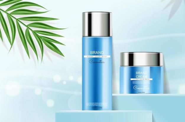 Frascos de cosméticos azuis para cuidados com a pele vetor realista colocação de produtos bokeh azul abstrato