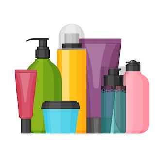 Frascos de cosméticos coloridos para produtos de beleza e limpeza, pele e corpo.