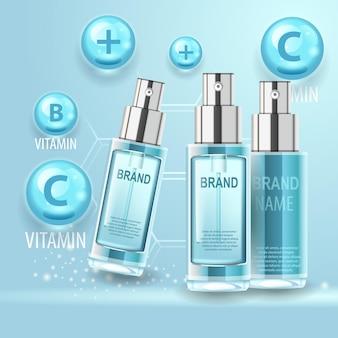 Frascos de cosméticos de complexo vitamínico forte com produto de cuidado corporal