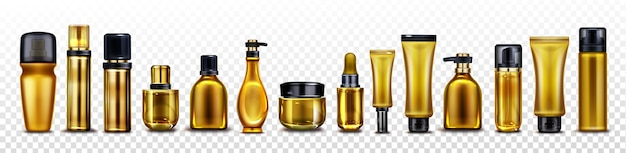 Frascos de cosméticos dourados, potes e tubos para creme, spray