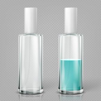 Frascos de cosméticos em branco de vidro.