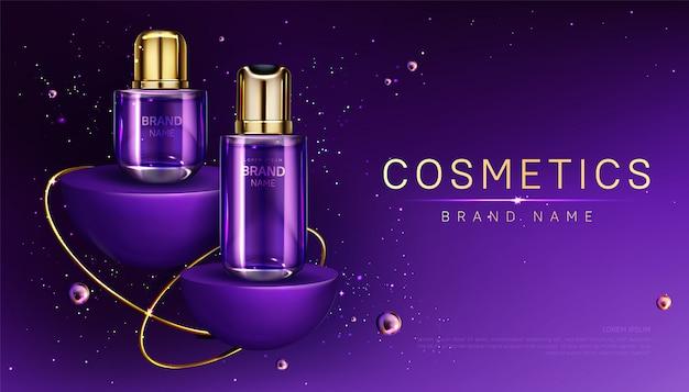 Frascos de cosméticos no banner de anúncio de perfume de pódio